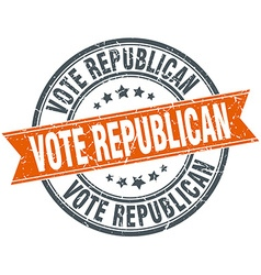 Vote republican round orange grungy vintage vector