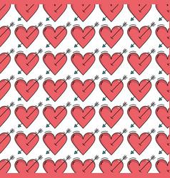 Beauty romantic heart with arrow background design vector