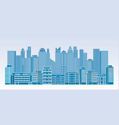 buildings and skyscrapers line blue background vector image vector image