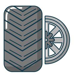 car wheel tire icon cartoon style vector image