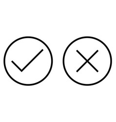 Check and cross mark thin line icon vector