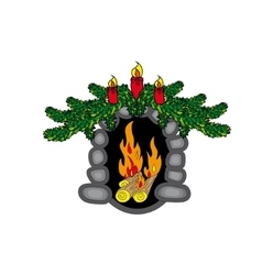 Christmas fireplace new year vector