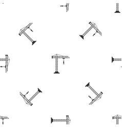 construction crane pattern seamless black vector image vector image
