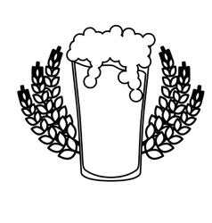 Contour beer glass with branches wheat image vector