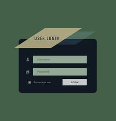 creative user login form in dark style vector image