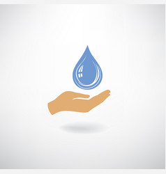drop icon in hand silhouette white background vector image vector image