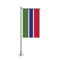Flag of gambia hanging on a pole vector