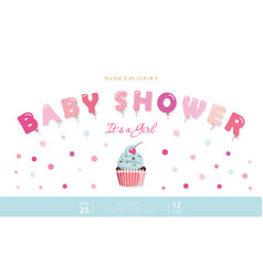 girl baby shower cute template party invitation vector image vector image