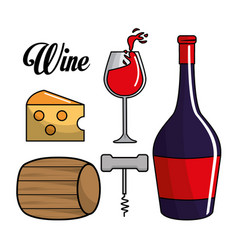 Glass bottle of wine barrel cheese and take out vector