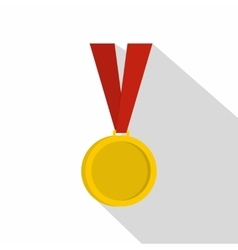 Gold medal icon flat style vector