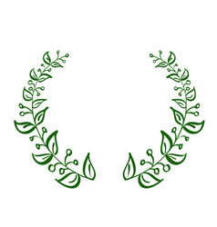 Green wreath frame of leaves on white background vector