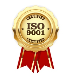 Iso 9001 certified - quality standard golden seal vector