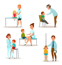 kids visit a doctor icon set vector image vector image