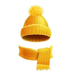 Knitted hat and scarf flat vector
