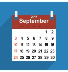 Leaf calendar 2017 of september days vector