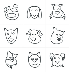 Line icons style fun dog icon vector