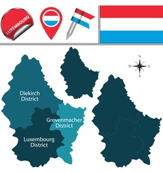 Luxembourg map with named divisions vector image vector image