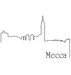 Mecca city one line drawing vector