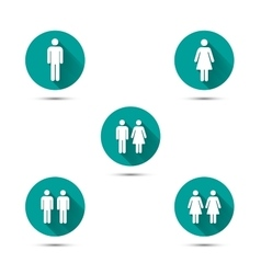 Men and women couples symbols Simple icons with vector image vector image