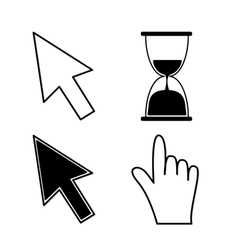 Mouse hand arrows and hourglass black color vector