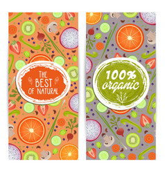 Organic products vertical flyers set vector