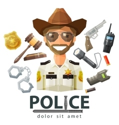 police law icons set of elements - gavel vector image