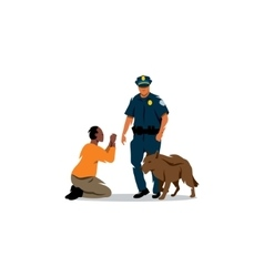 Policeman with a dog and black offender vector image vector image