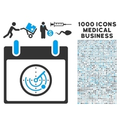Radar calendar day icon with 1000 medical business vector