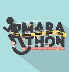 Runner With Marathon Typography Design vector image vector image