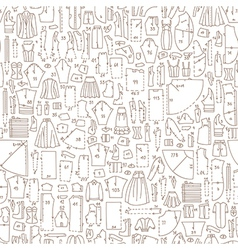 Seamless doodle pattern with clothes and sewing vector image