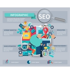 Seo marketing infographics vector