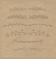 Set of decorative doodle branches vector