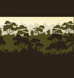 Silhouette of jungle rain forest scenery vector
