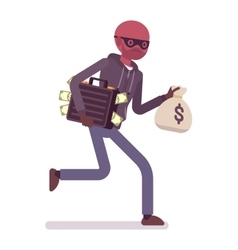 Thief is running away with stolen money vector image vector image