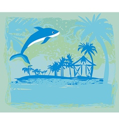 Tropical vacation - abstract card with a dolphin vector