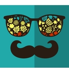Vintage eyeglasses with reflection vector image vector image