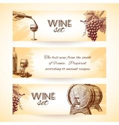 Wine sketch banners vector