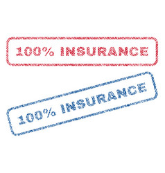100 percent insurance textile stamps vector