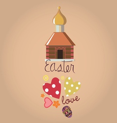 easter card with a small churchlet vector image