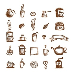 Coffee sketch design elements vector