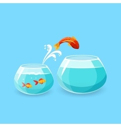 Ambition and Challenge Concept Goldfish Escape vector image