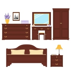 Bedroom furniture set vector