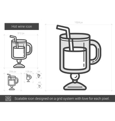 Hot wine line icon vector