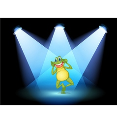 A frog smiling in the middle of the stage vector