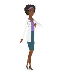 disappointed african doctor with thumb down vector image
