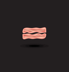 icon two slices pork bacon vector image
