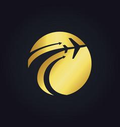 Gold airplane travel globe fly logo vector