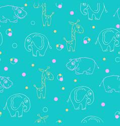endless pattern of animals giraffe hippopotamus vector image