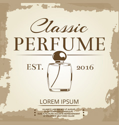 Perfume vintage label on vintage poster background vector