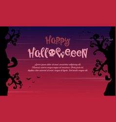 Happy halloween with tree style background vector